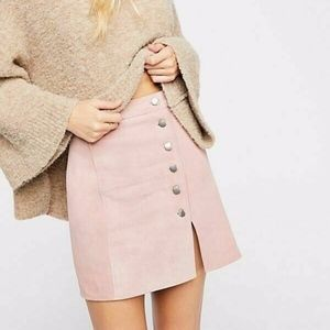 Free People Understated Leather Suede Mini Skirt